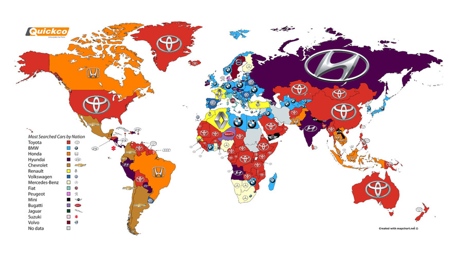 Most Googled Car Brands By Country