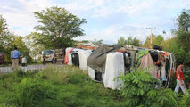 Car trailer with new Toyota Hilux crashes in Thailand