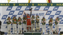 LMP1 podium: class and overall winners Mike Rockenfeller, Romain Dumas and Timo Bernhard celebrate with Dr. Wolfgang Ullrich, second place Andre Lotterer, Marcel Faessler and Benoit Treluyer, third place Tom Kristensen, Rinaldo Capello and Allan McNish -