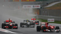 F1 drivers battle the wet weather during the Korean Grand Prix