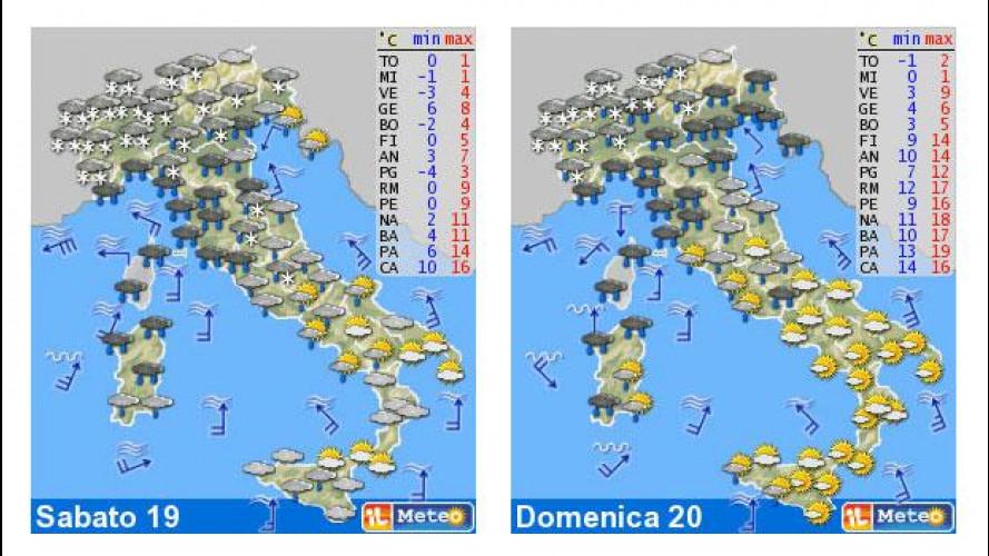 Il meteo del fine settimana 19-20 gennaio: neve sull'Italia