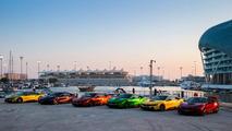 Colorful BMW i8s at Yas Marina Circuit