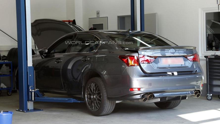 Lexus GS F prototype spied in a garage