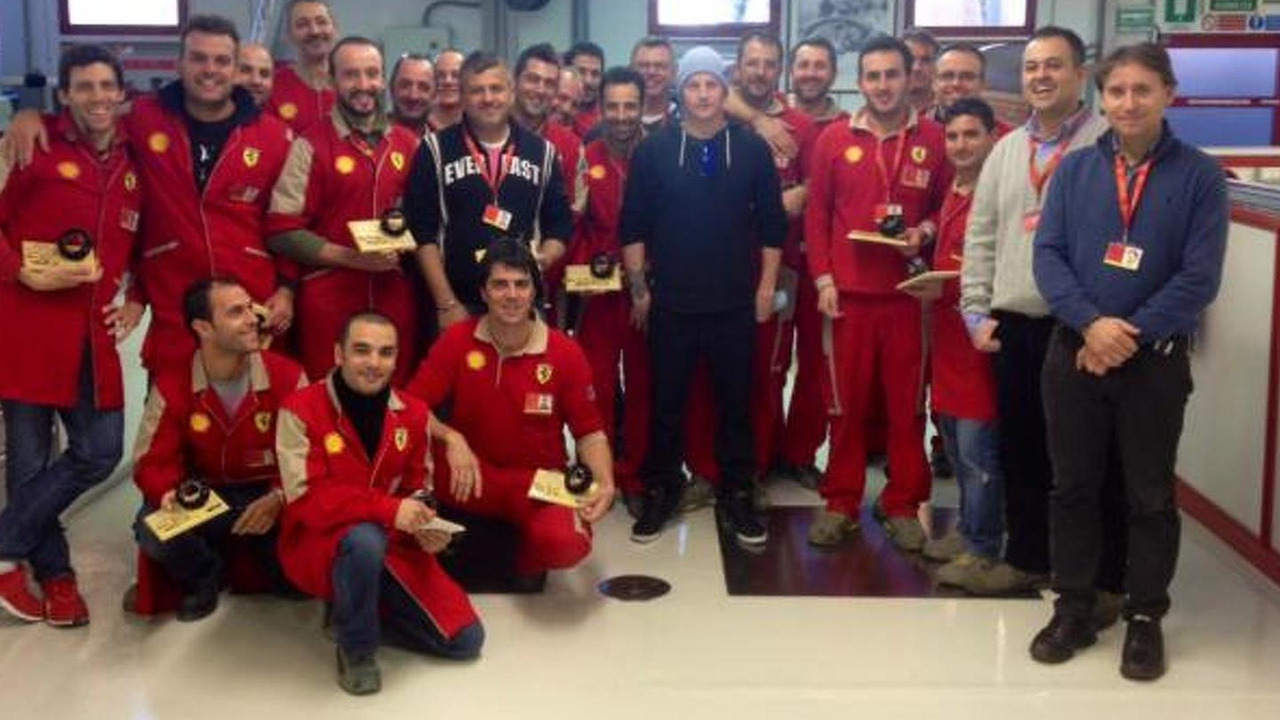 Kimi Raikkonen meets new team at Ferrari Maranello headquarters