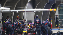 Sebastian Vettel (GER) makes a pit stop, 20.04.2014, Chinese Grand Prix, Shanghai, China / XPB