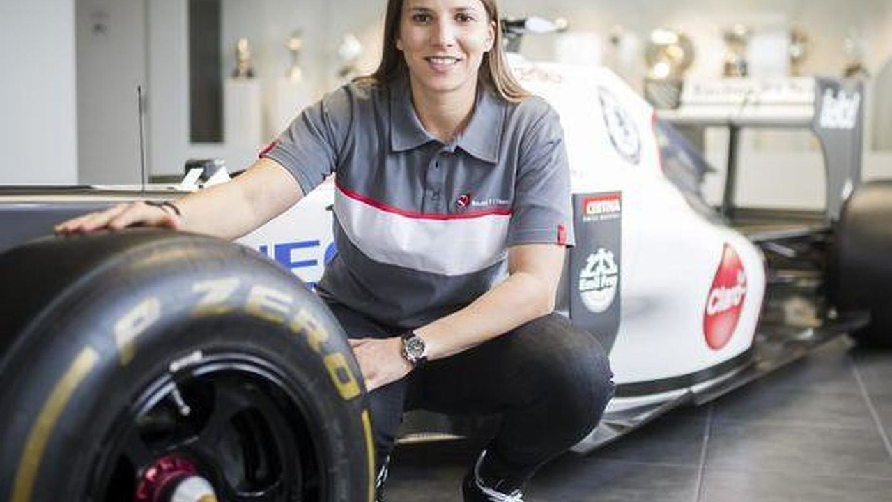 Simona de Silvestro poses at the Sauber headquarters in Hinwil, Switzerland / Ennio Leanza, AP