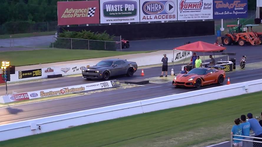 Demon Drag Races ZR1 On A Slippery Strip