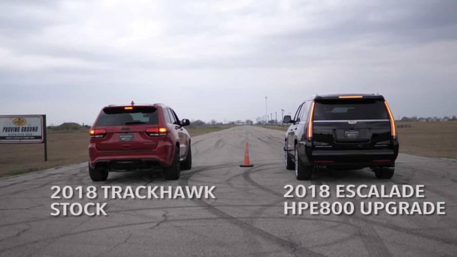 Hennessey Escalade vs. Jeep G. Cherokee Trackhawk: Goliat vs. Goliat