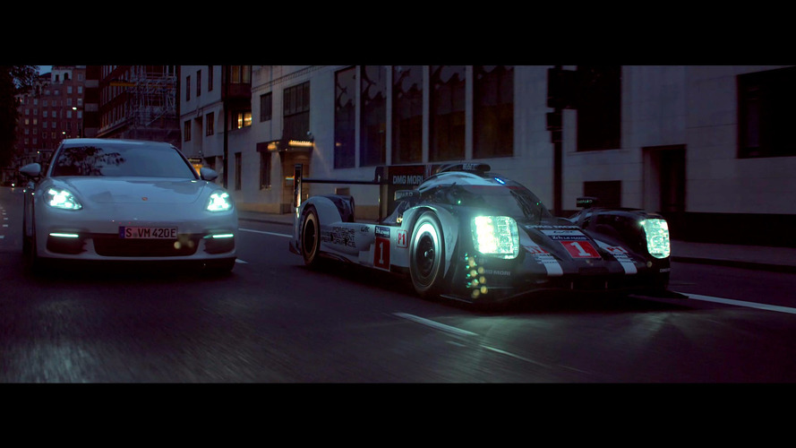 Le Mans-winning Porsche 919 and Panamera 4 E-Hybrid cruise London