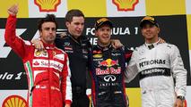 Fernando Alonso (ESP), Scuderia Ferrari, Sebastian Vettel (GER), Red Bull Racing and Lewis Hamilton (GBR), Mercedes Grand Prix 25.08.2013