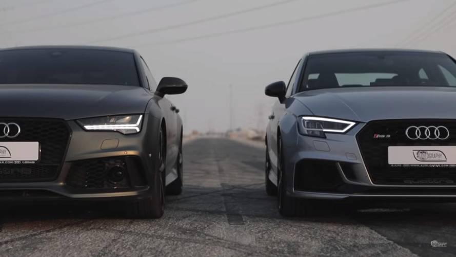 VIDÉO - Quand l'Audi RS 7 croise la nouvelle Audi RS 3 berline