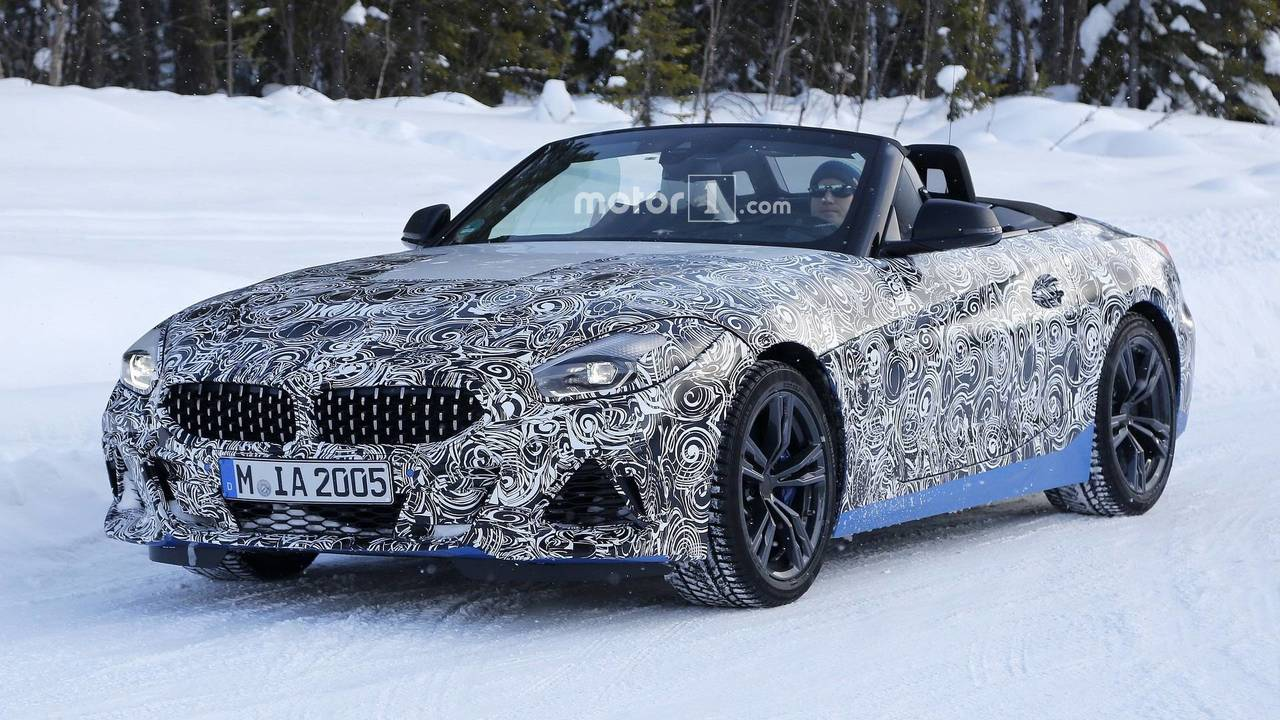 2019 bmw z4 spied with the top down accompanied by supra. Black Bedroom Furniture Sets. Home Design Ideas