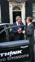 Prime Minister Gordon Brown Samples TH!NK city EV at Downing Street