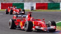 Michael Schumacher leads Felipe Massa