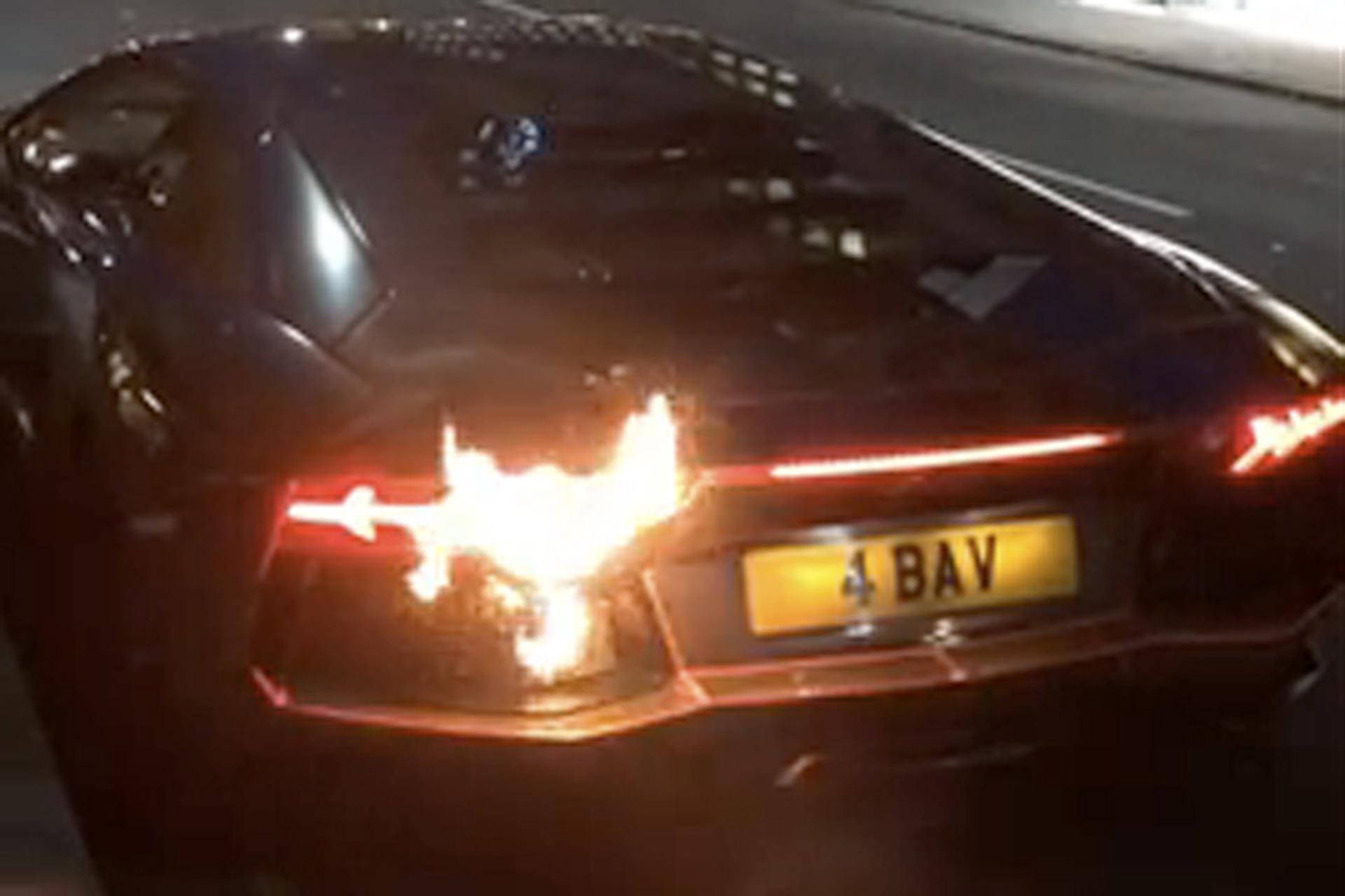Watch a Lamborghini Rev Until it Catches Fire