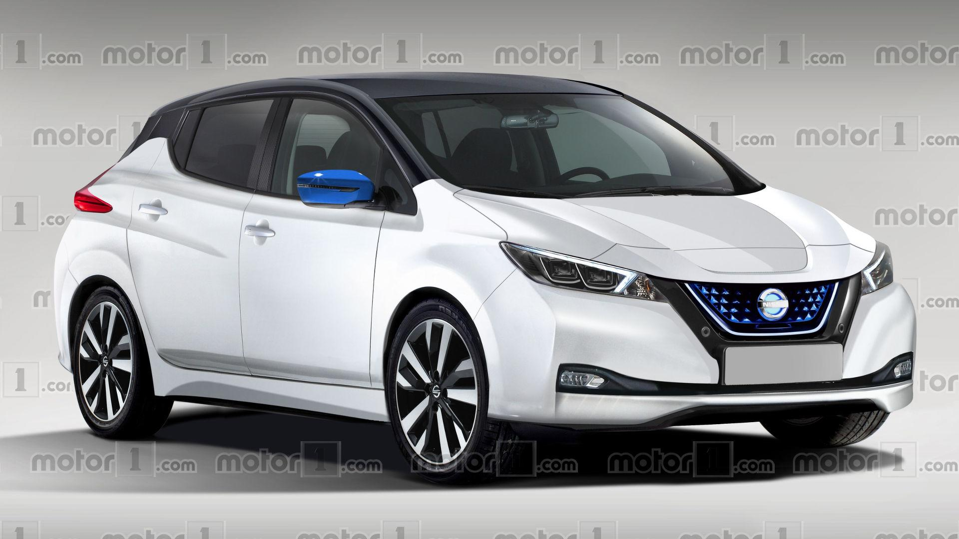 2018 nissan leaf render previews massively improved design. Black Bedroom Furniture Sets. Home Design Ideas