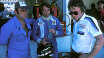 Jacques Laffite, Ligier JS5-Matra with Guy Ligier, owner, and Gérard Ducarouge, designer and engineer