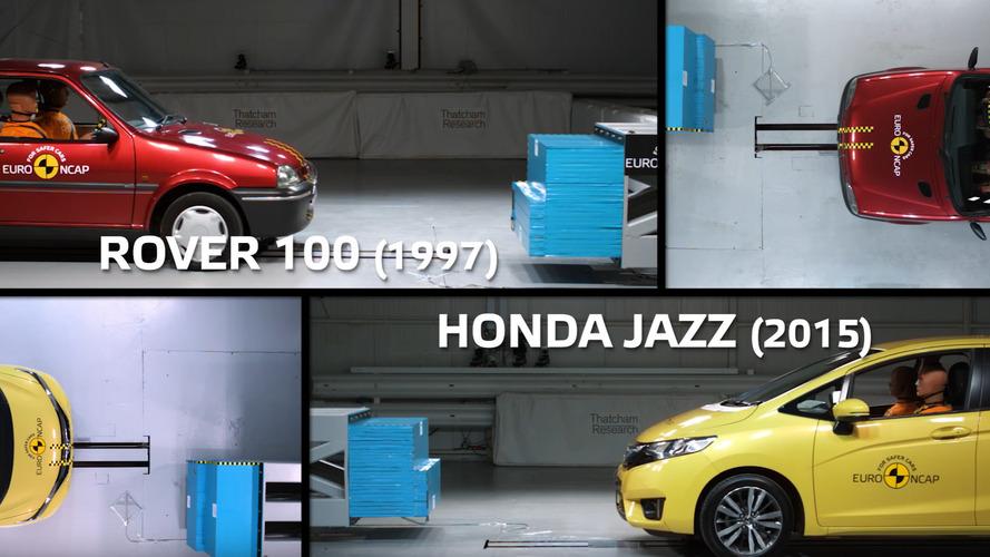 Euro NCAP compares 1990s Rover crash test with recent Honda Jazz