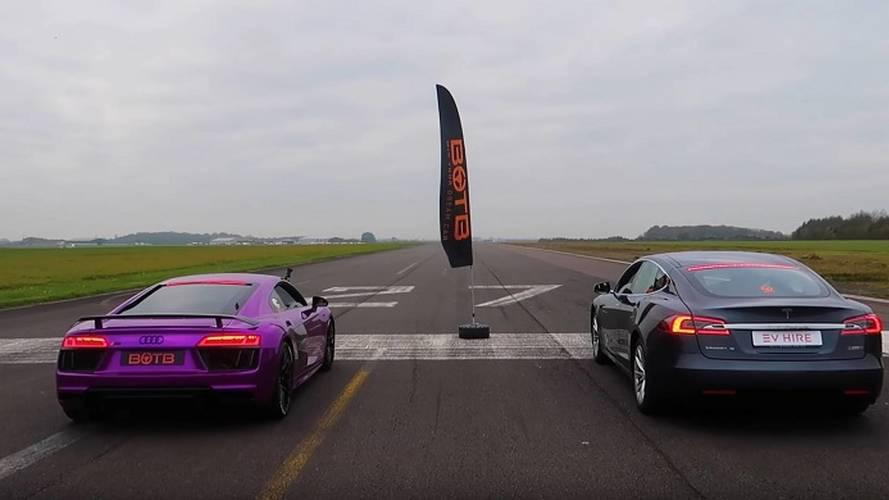 Tesla Model S P100D Drag Races Audi R8 V10
