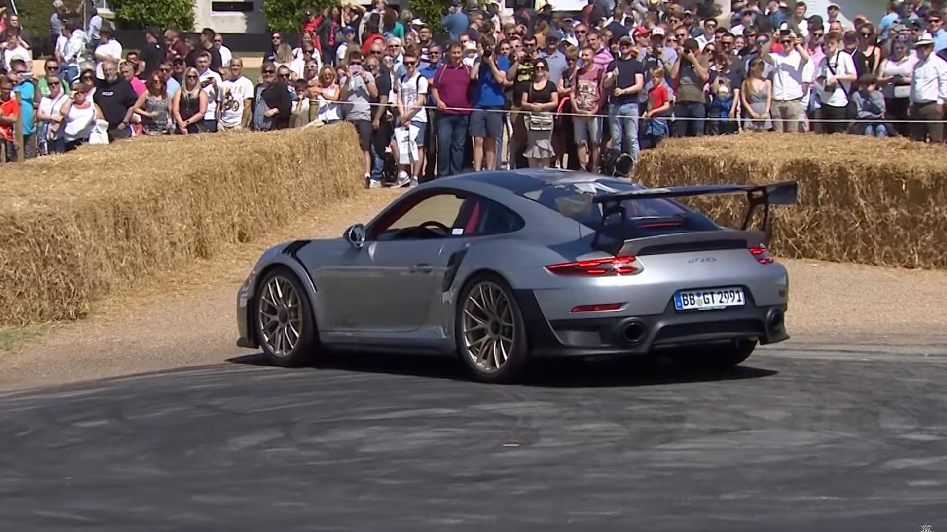 Porsche 911 GT2 RS Donut Attempt Fails At Goodwood on 2017 porsche cayman s, 2017 porsche carrera gt, 2017 porsche carrera s, 2017 porsche turbo s, 2017 porsche gt3, 2017 porsche 911 turbo, 2017 porsche turbo cabriolet,
