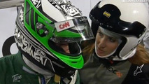 Heikki Kovalainen and girldfriend Catherine Hyde just after crash at Race of Champions, Germany, 728, 28.11.2010